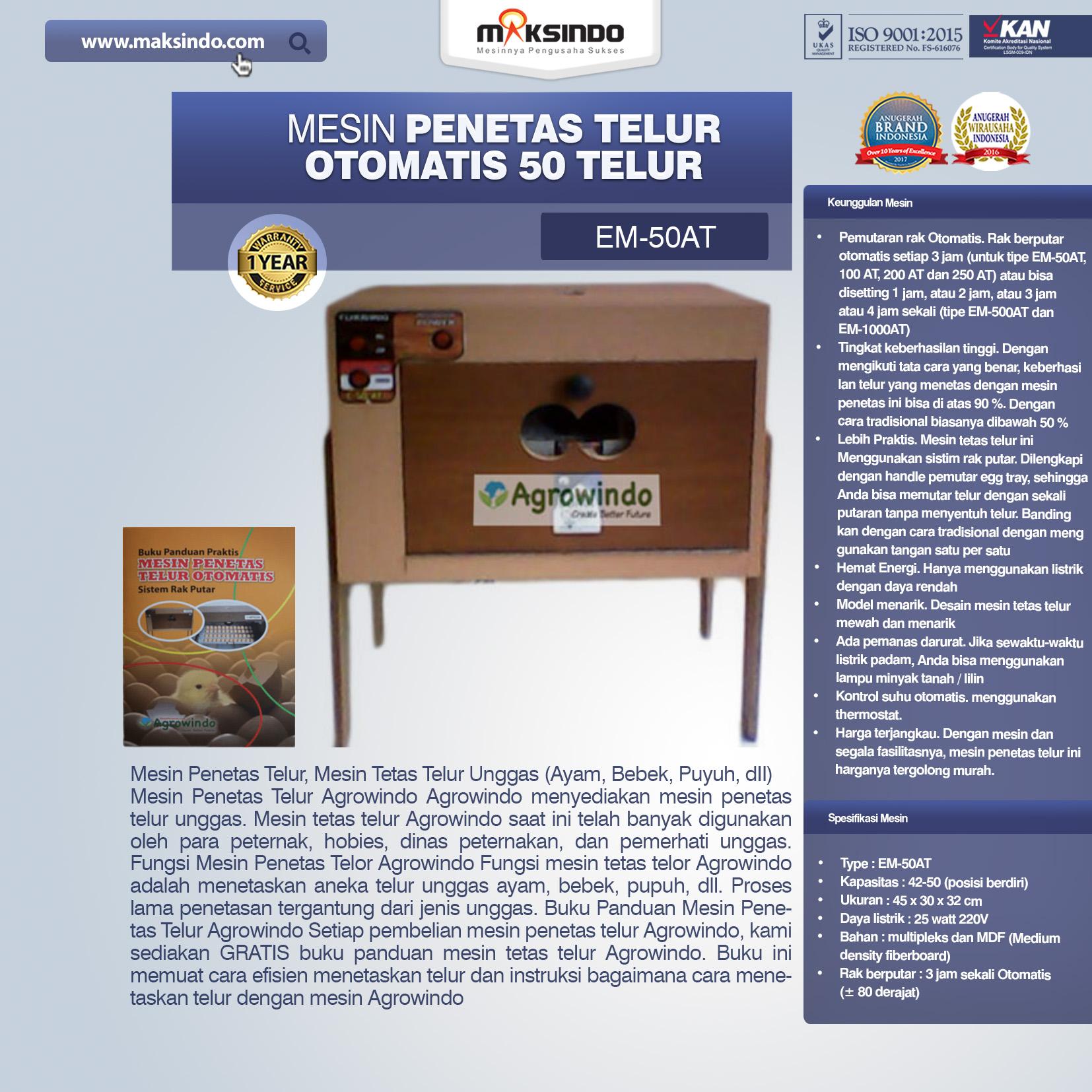 Jual Mesin Penetas Telur Otomatis 50 Telur (EM-50AT) di Blitar