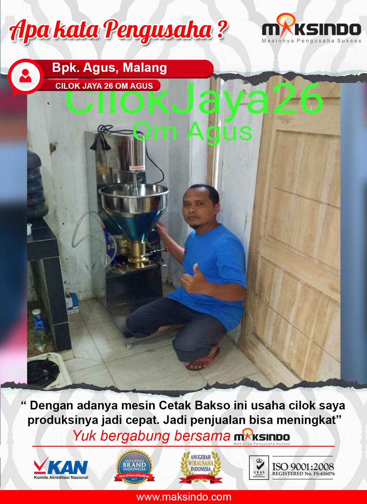 Cilok Jaya 26 Om Agus : Mesin Cetak Bakso, Produksi Cilok Lebih Cepat