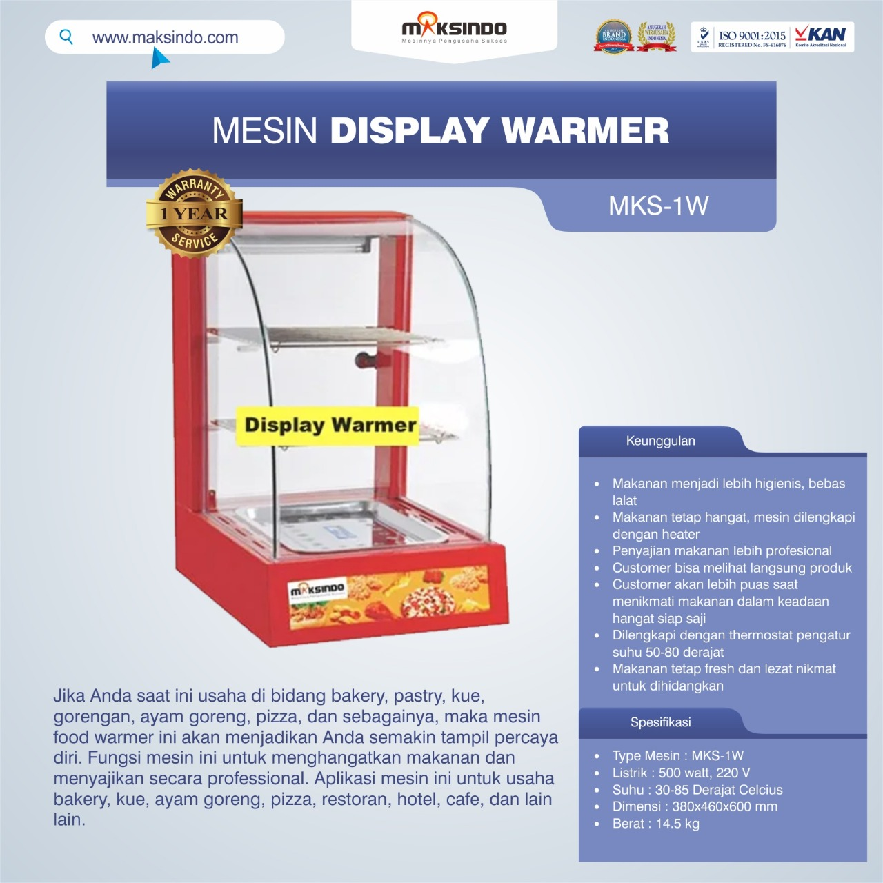 Jual Mesin Diplay Warmer (MKS-1W) di Blitar