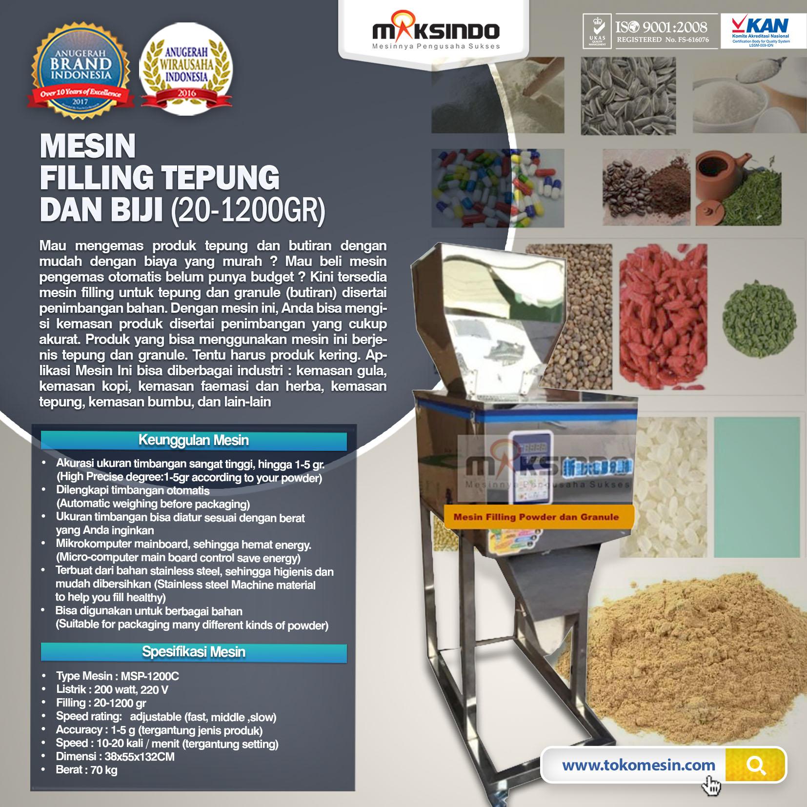 Jual Mesin Filling Tepung dan Biji (20-1200gr) di Blitar