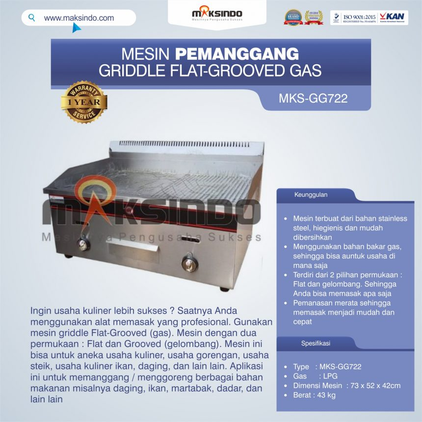 Jual Pemanggang Griddle Flat-Grooved Gas (GG722) di Blitar