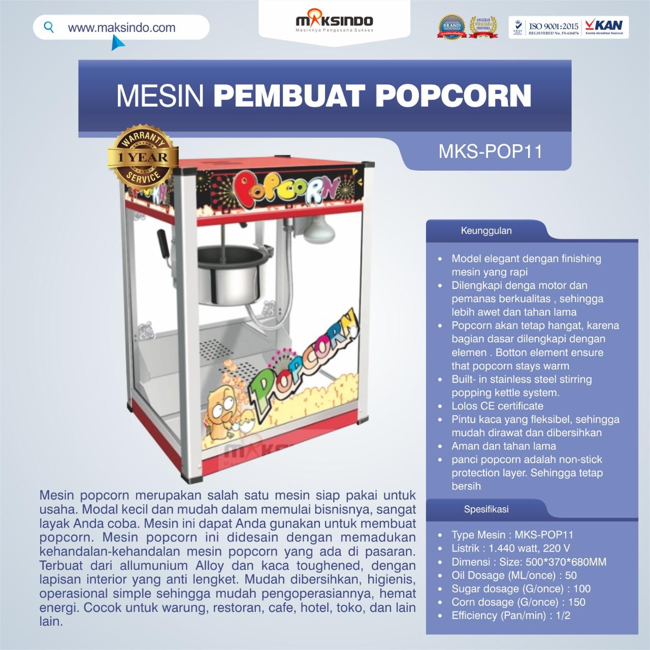 Jual Mesin Pembuat Popcorn (POP11) di Blitar