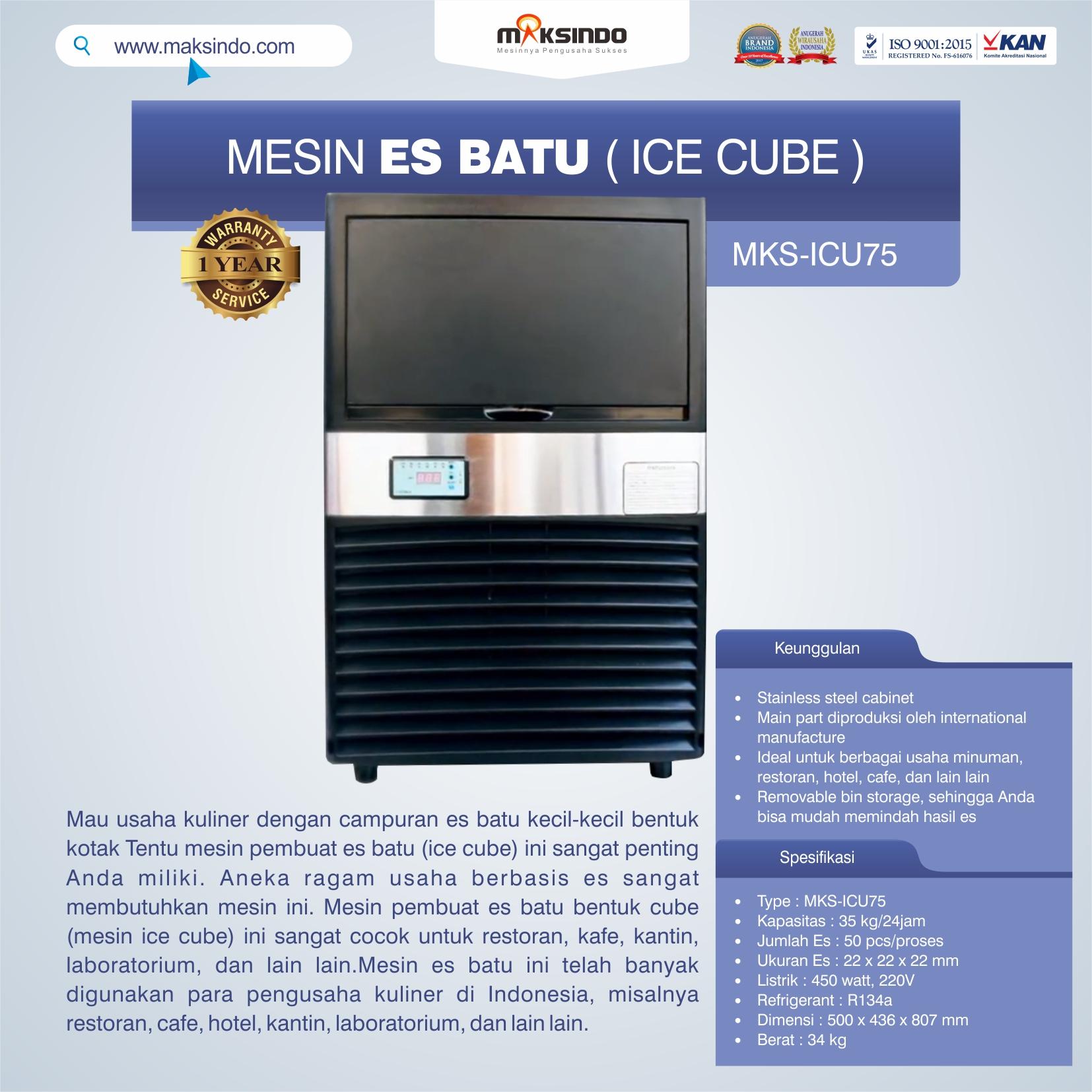 Jual Mesin Es Batu Ice Cube (ICU-75) di Blitar
