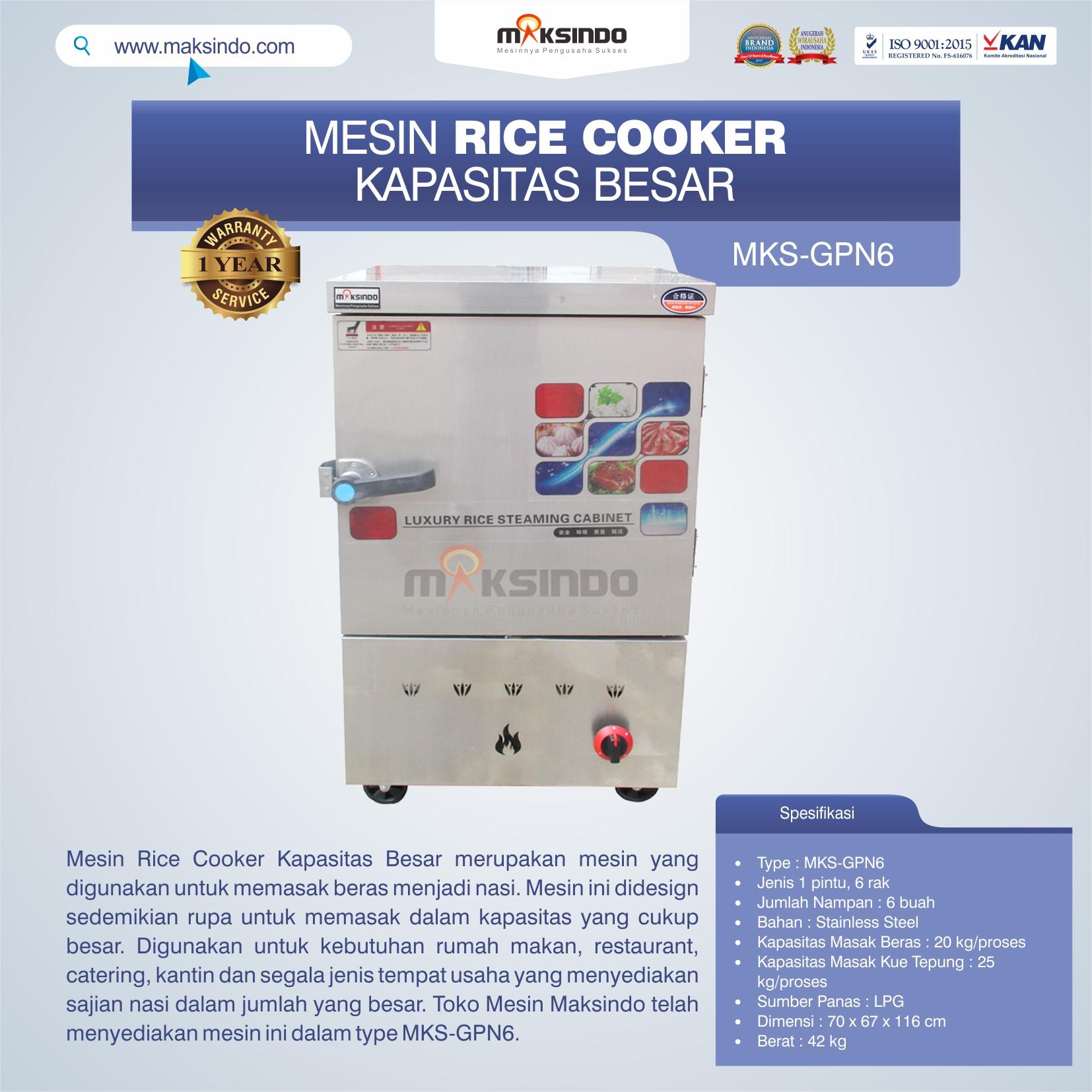 Jual Mesin Rice Cooker Kapasitas Besar MKS-GPN6 di Blitar