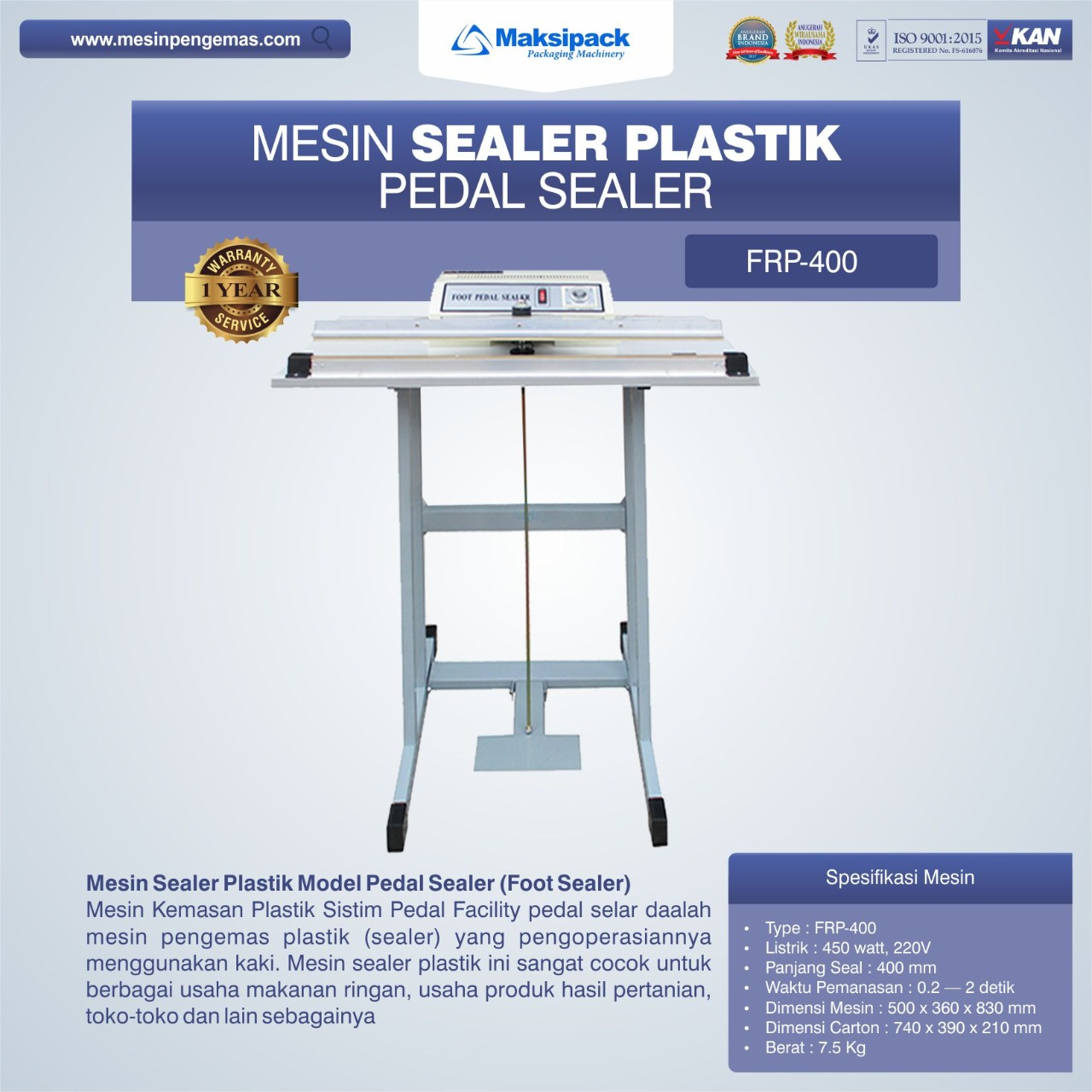 Jual Mesin Sealer Plastik Pedal Sealer FRP-400 di Blitar