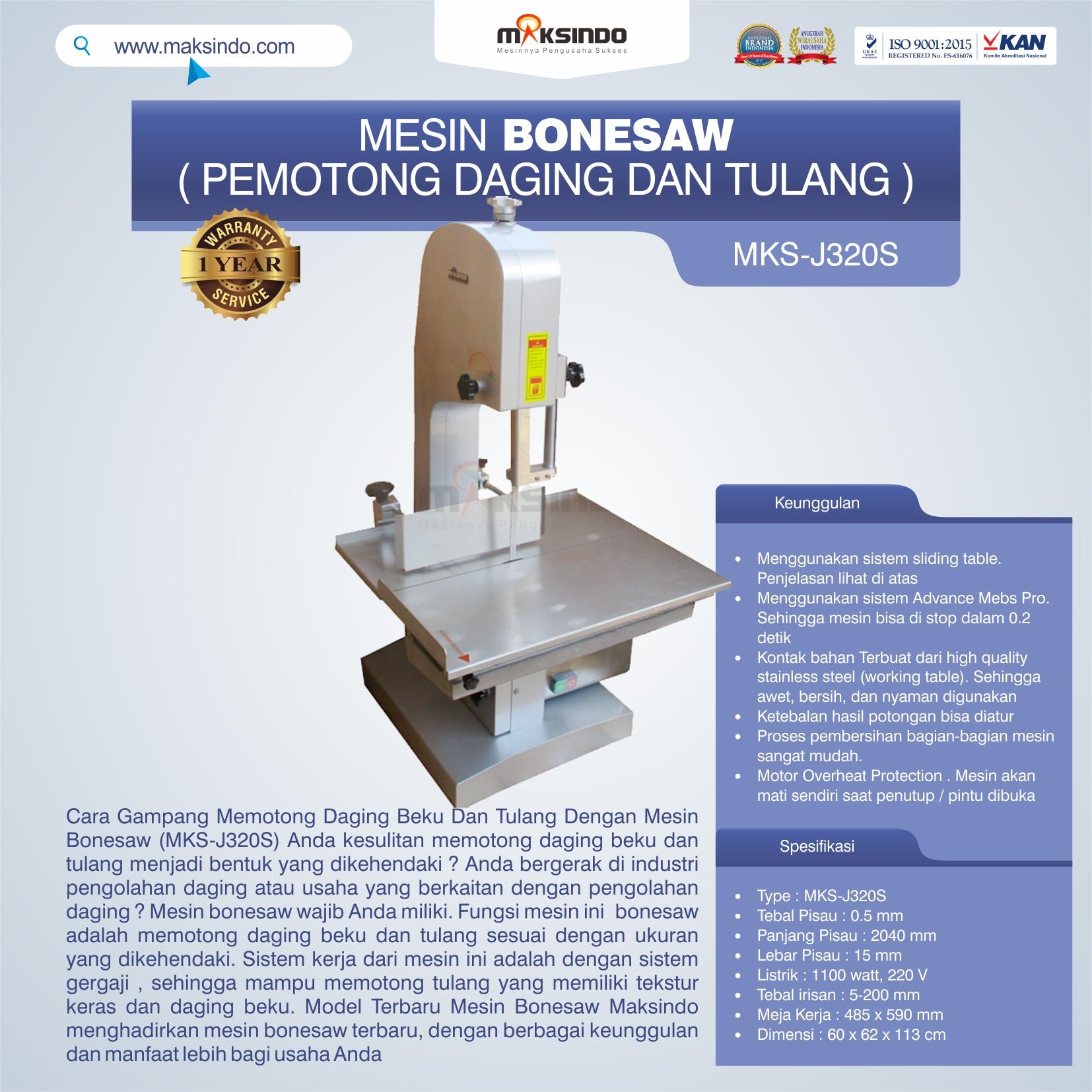 Jual Mesin Bonesaw MKS-J320S (pemotong daging dan tulang) di Blitar