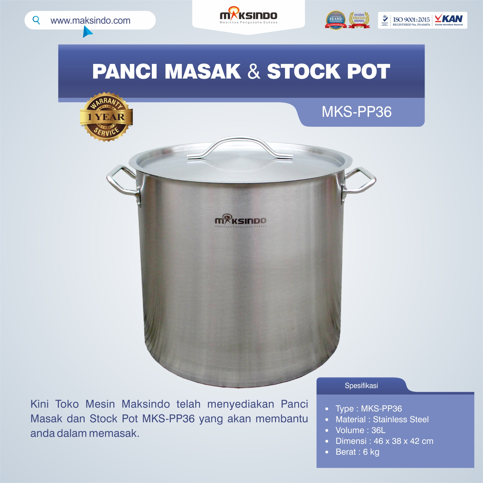 Jual Panci Masak Dan Stock Pot MKS-PP36 di Blitar