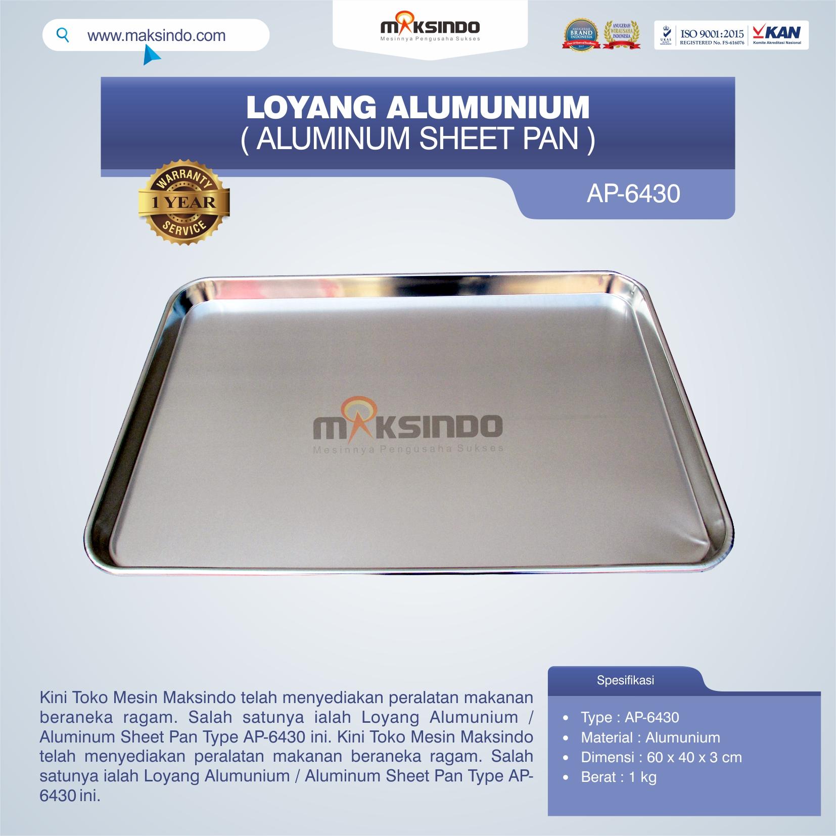 Jual Loyang Alumunium / Aluminum Sheet Pan Type AP-6430 di Blitar