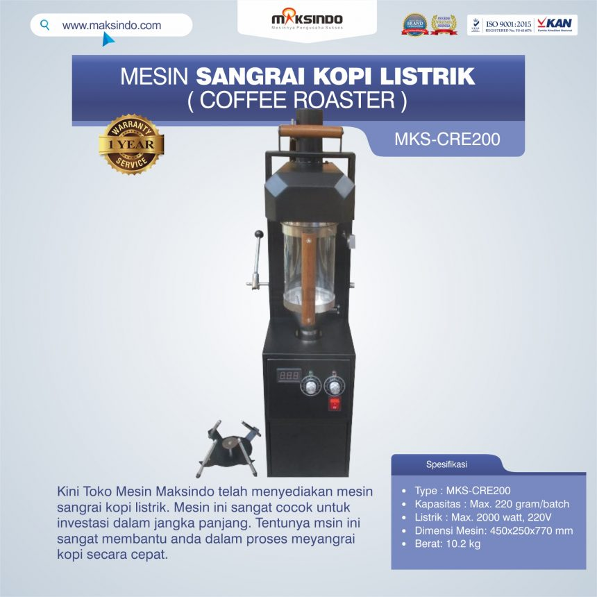 Jual Mesin Sangrai Kopi Listrik (Coffee Roaster) MKS-CRE200 di Blitar