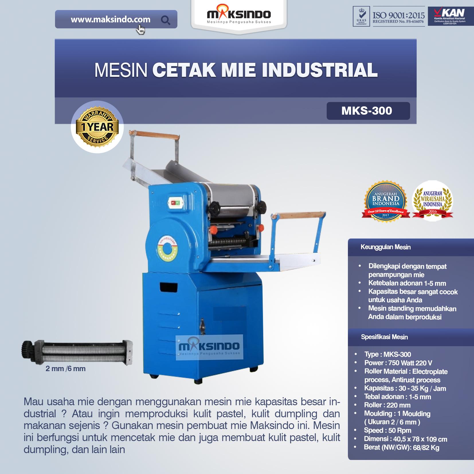 Jual Mesin Cetak Mie Industrial (MKS-300) di Blitar