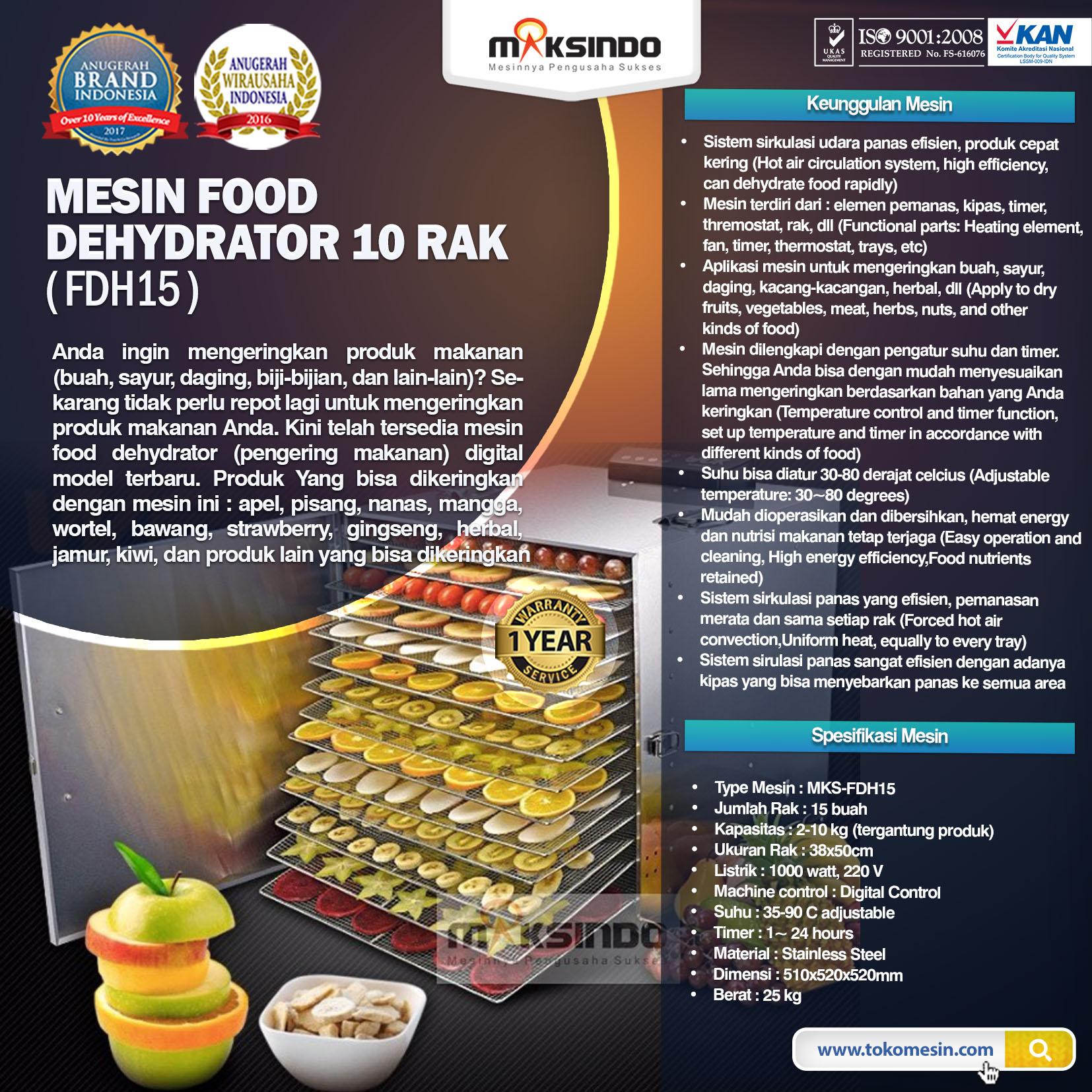 Jual Mesin Food Dehydrator 15 Rak (FDH15) di Blitar