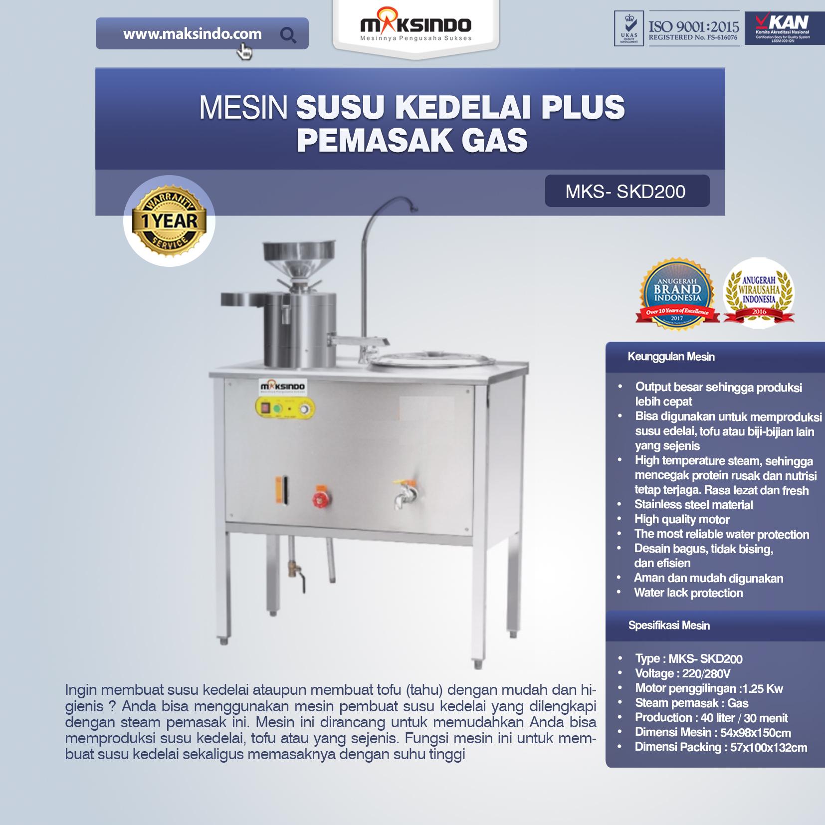Jual Mesin Susu Kedelai Plus Pemasak Gas (SKD200) di Blitar