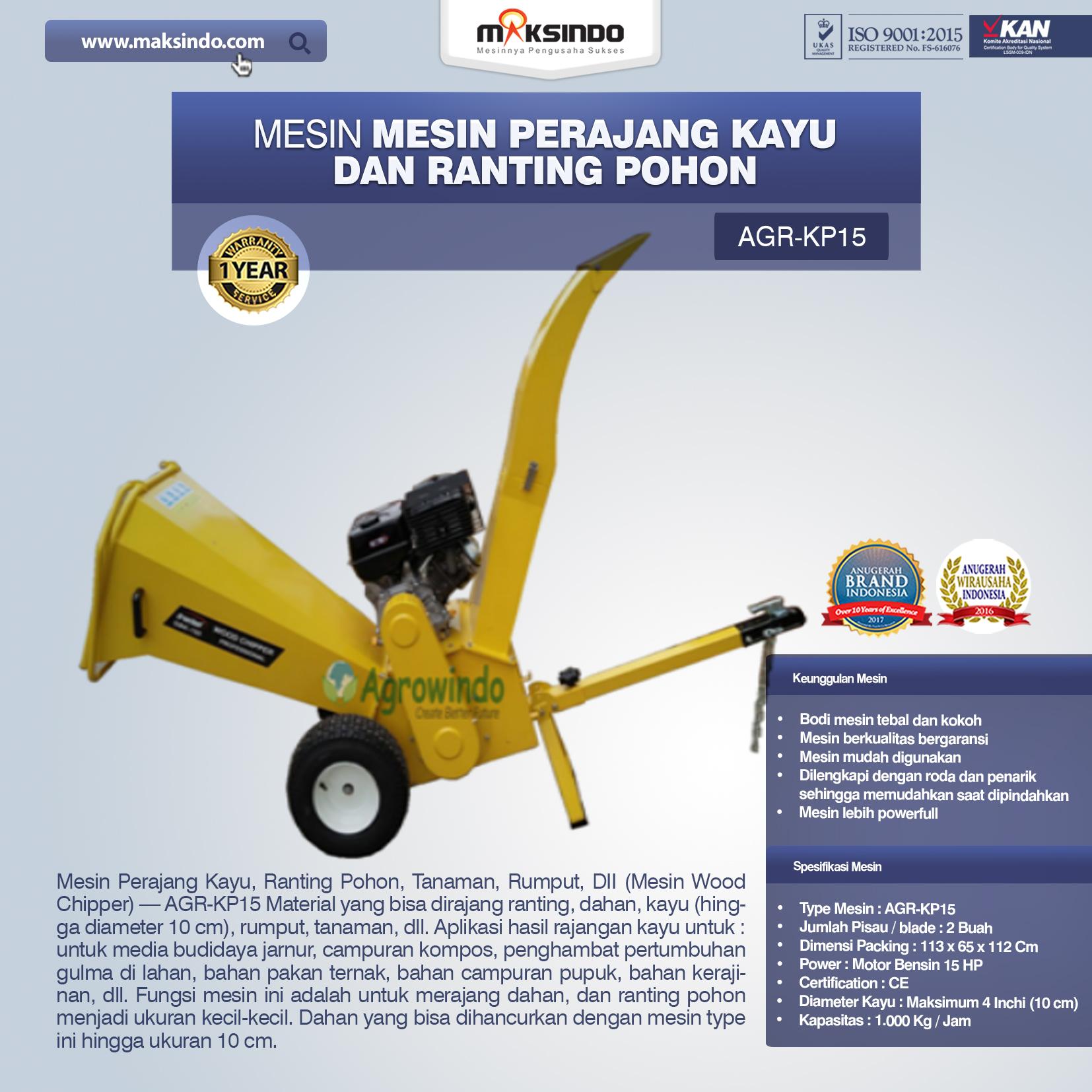 Jual Mesin Perajang Kayu dan Ranting Pohon – KP15 di Blitar
