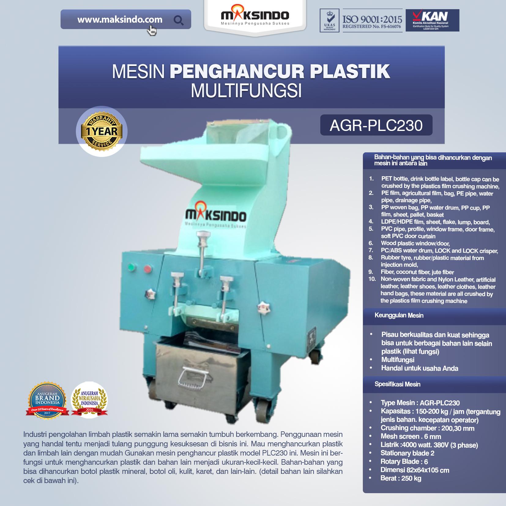 Jual Mesin Penghancur Plastik Multifungsi – PLC230 di Blitar
