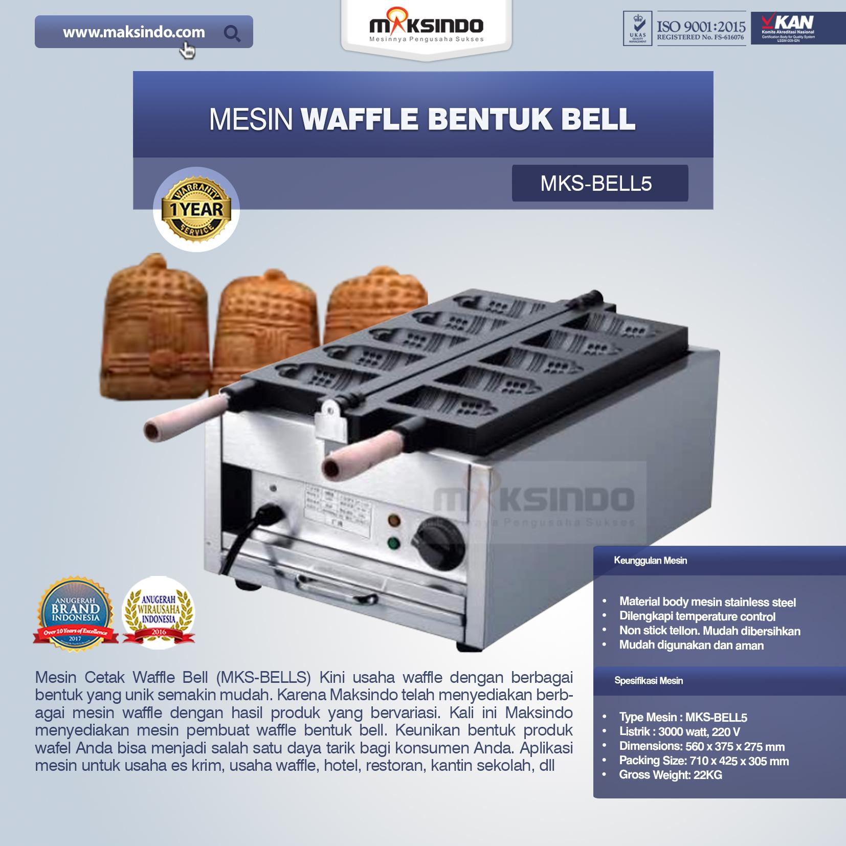 Jual Mesin Waffle Bentuk Bell (MKS-BELL5) di Blitar