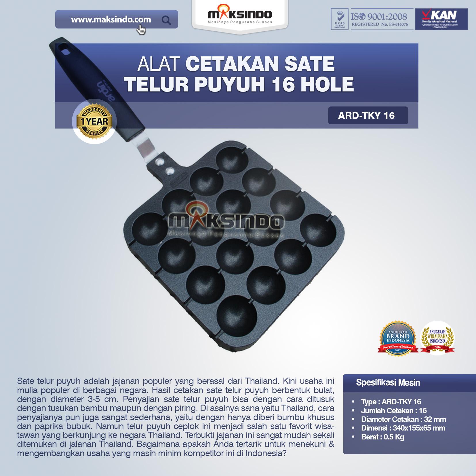 Jual Alat Cetakan Sate Telur Puyuh 16 Hole Ardin TKY16 di Blitar