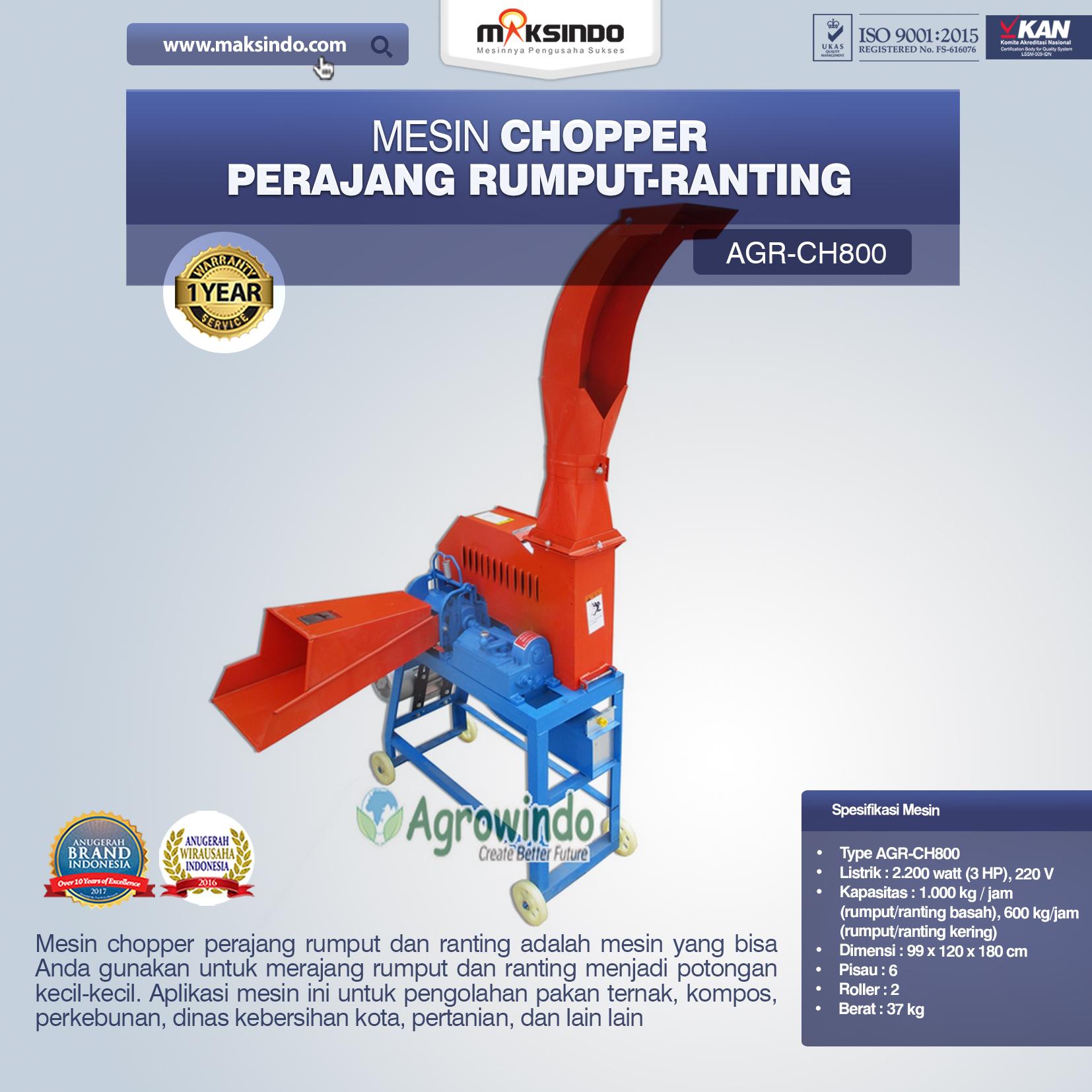 Jual Mesin Chopper Perajang Rumput-Ranting (AGR-CH800) di Blitar