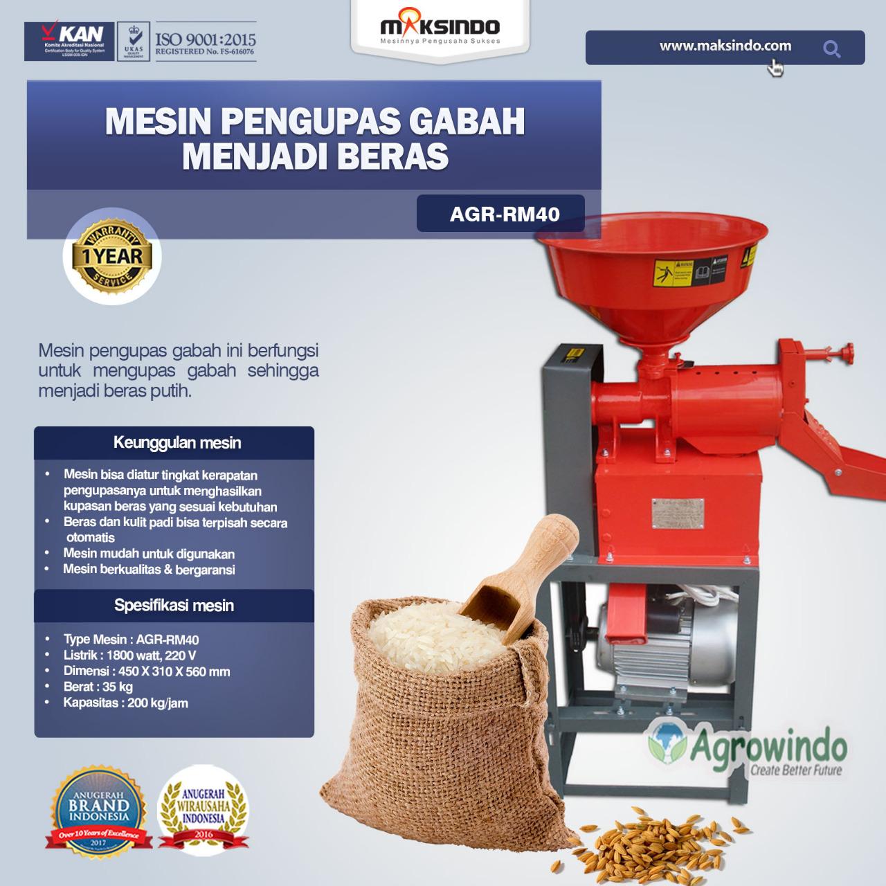 Jual Mesin Rice Huller Mini Pengupas Gabah – Beras AGR-RM40 di Blitar