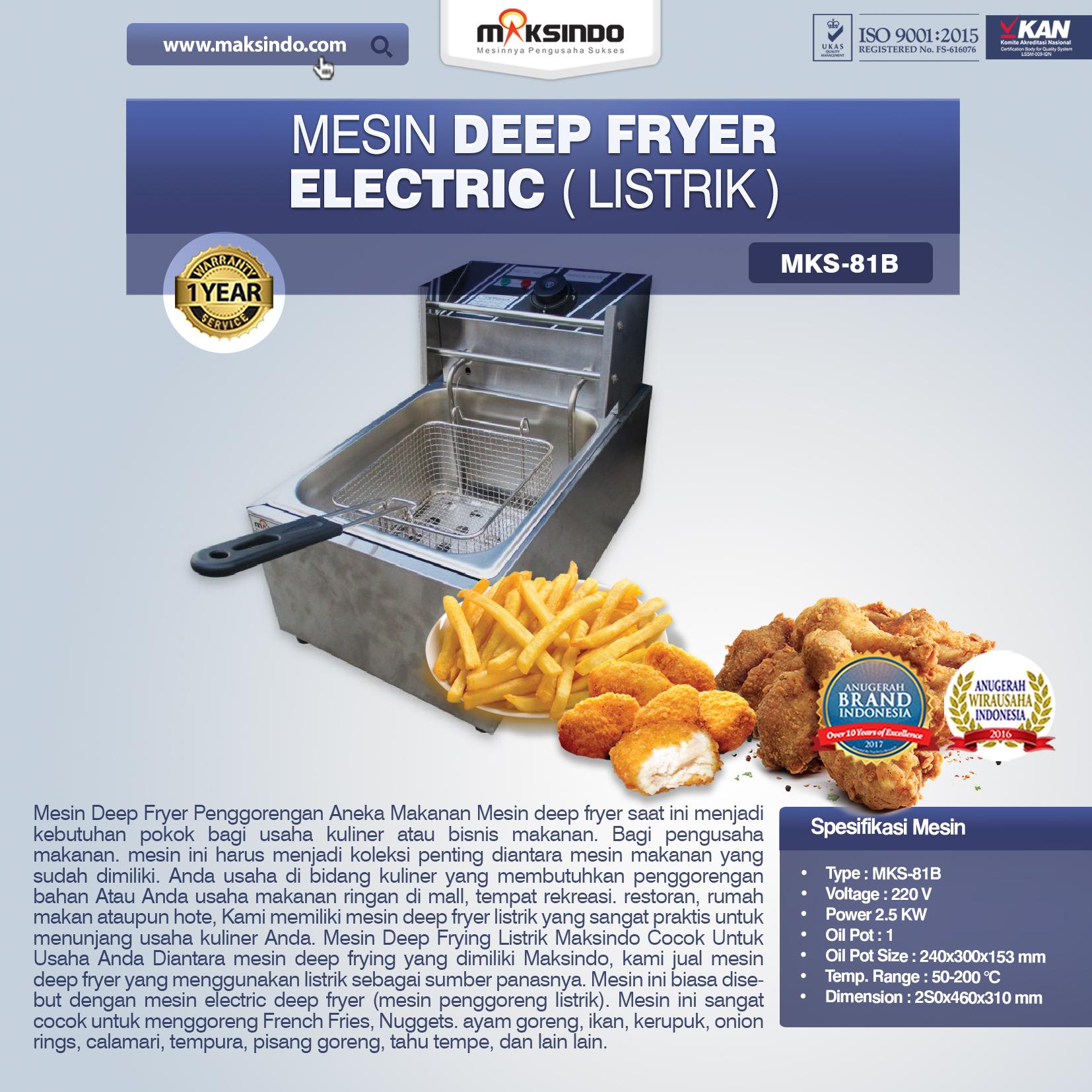 Jual Mesin Deep Fryer Listrik MKS-81B di Blitar