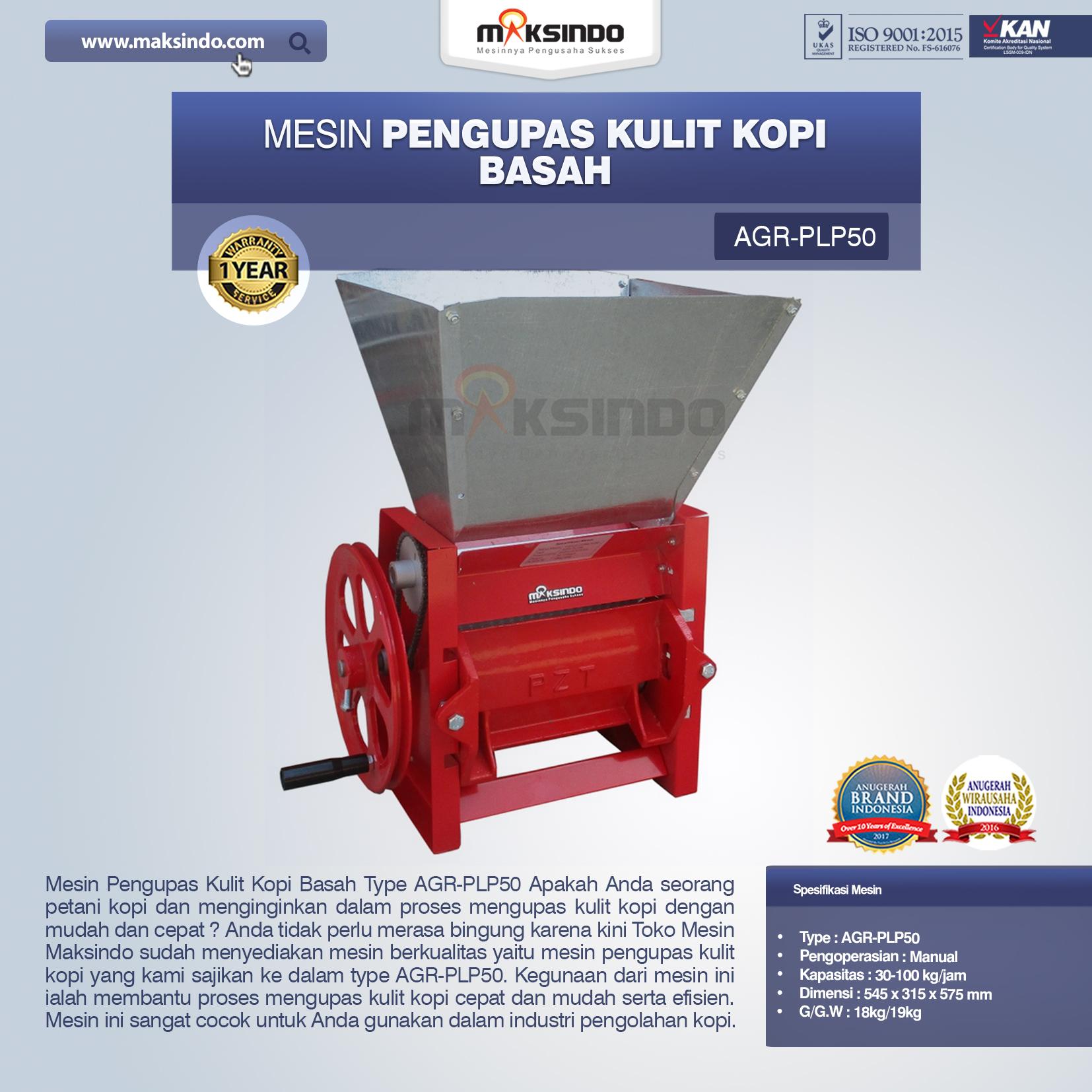 Jual Mesin Pengupas Kulit Kopi Basah Type AGR-PLP50 di Blitar