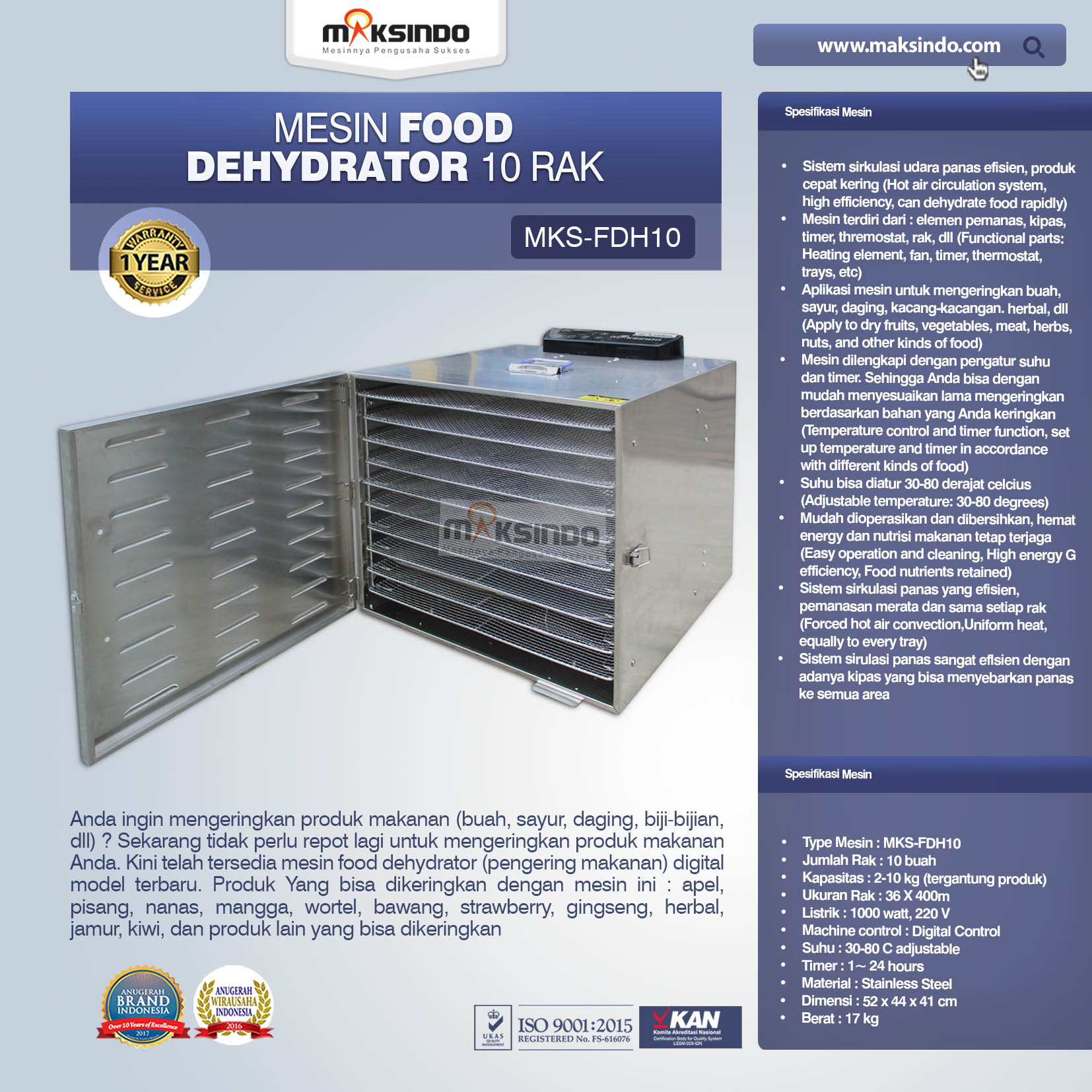 Jual Mesin Food Dehydrator 10 Rak (FDH10) di Blitar