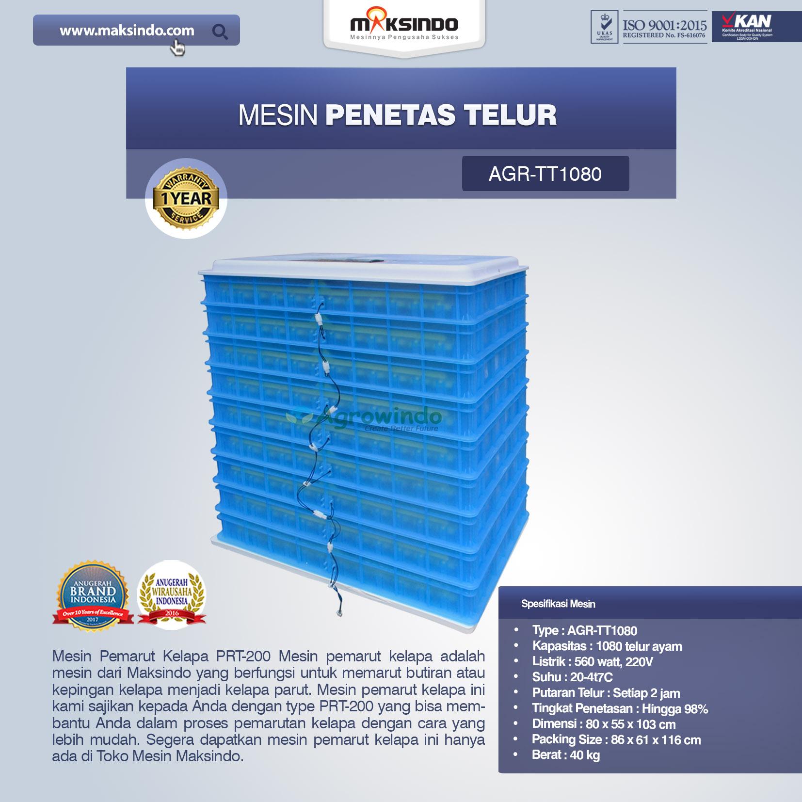 Jual Mesin Penetas Telur AGR-TT1080 di Blitar