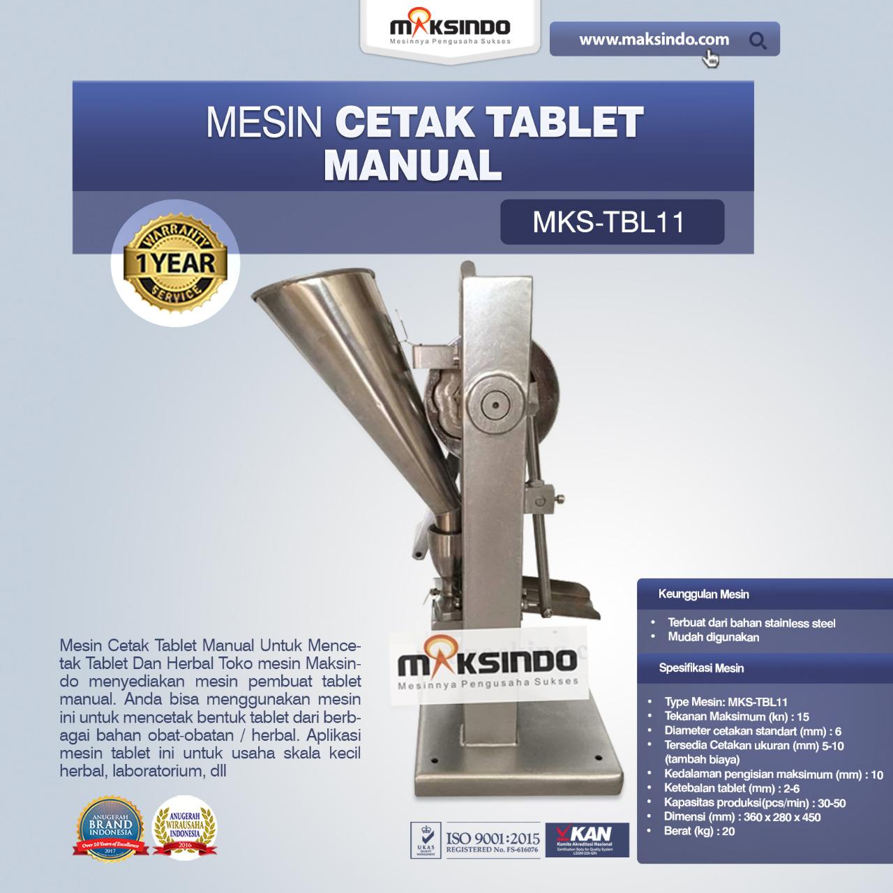 Jual Mesin Cetak Tablet Manual – MKS-TBL11 di Blitar