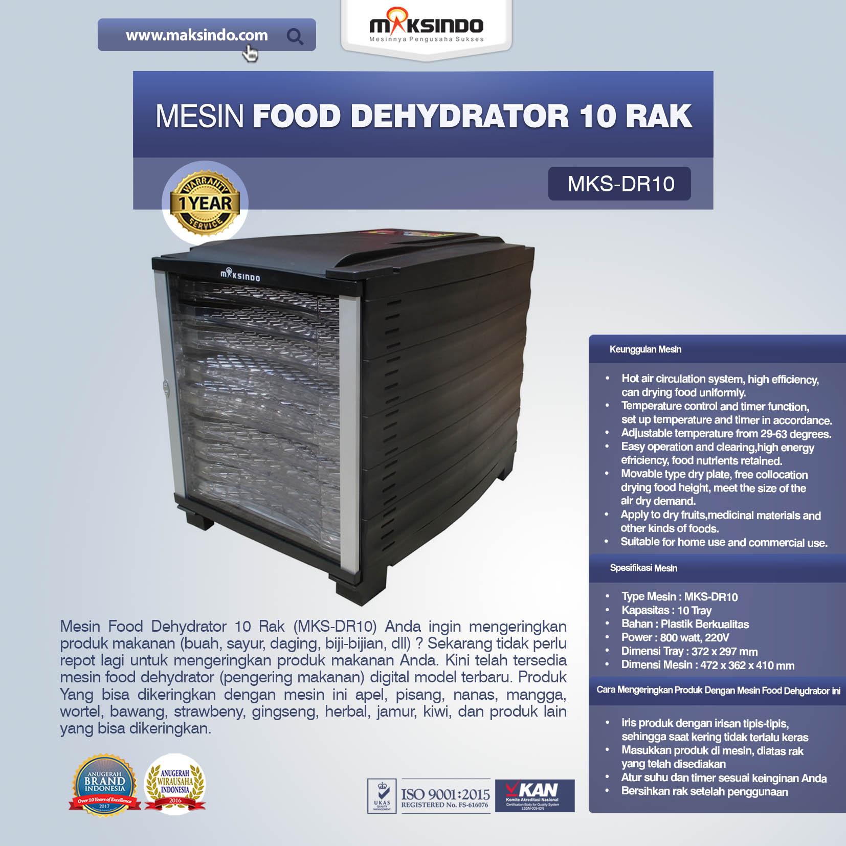 Jual Mesin Food Dehydrator 10 Rak (MKS-DR10) di Blitar