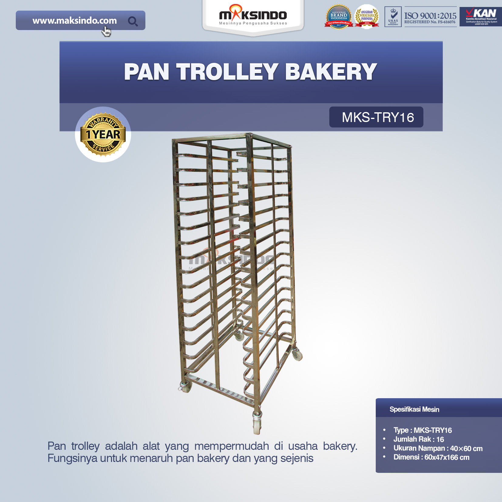 Jual Pan Trolley Bakery (MKS-TRY16) di Blitar