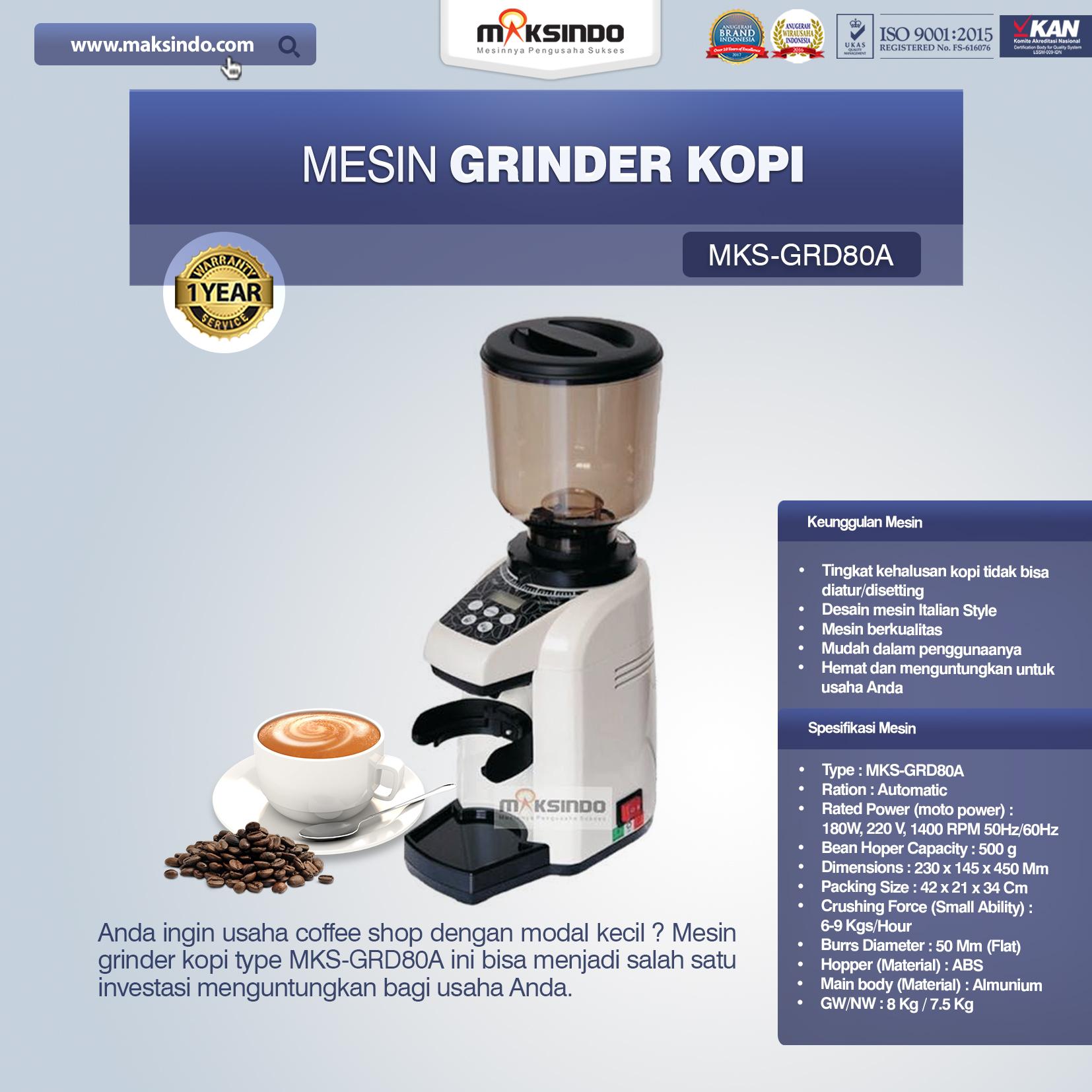 Jual Mesin Grinder Kopi (MKS-GRD80A) di Blitar