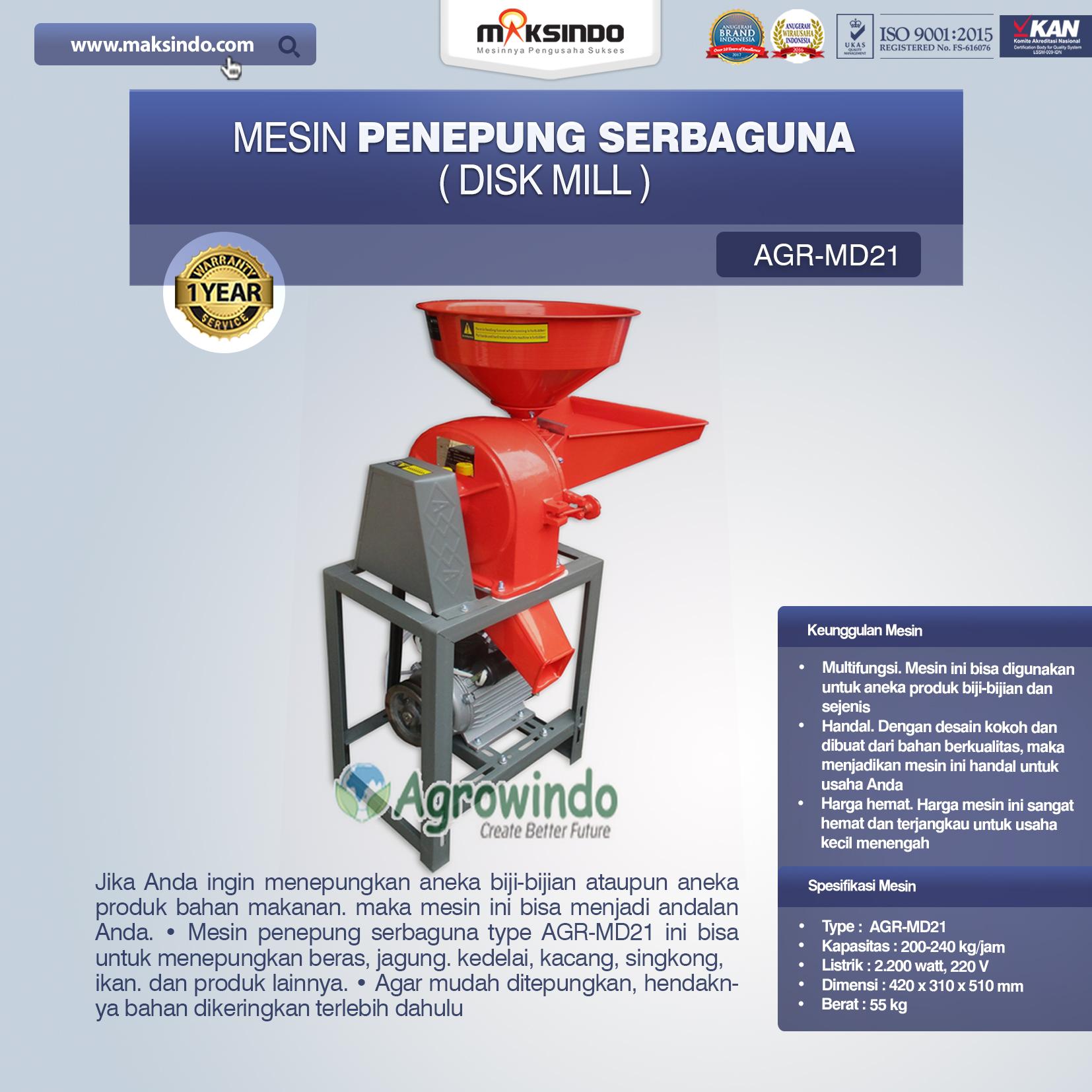Jual Penepung Disk Mill Serbaguna (AGR-MD21) di Blitar
