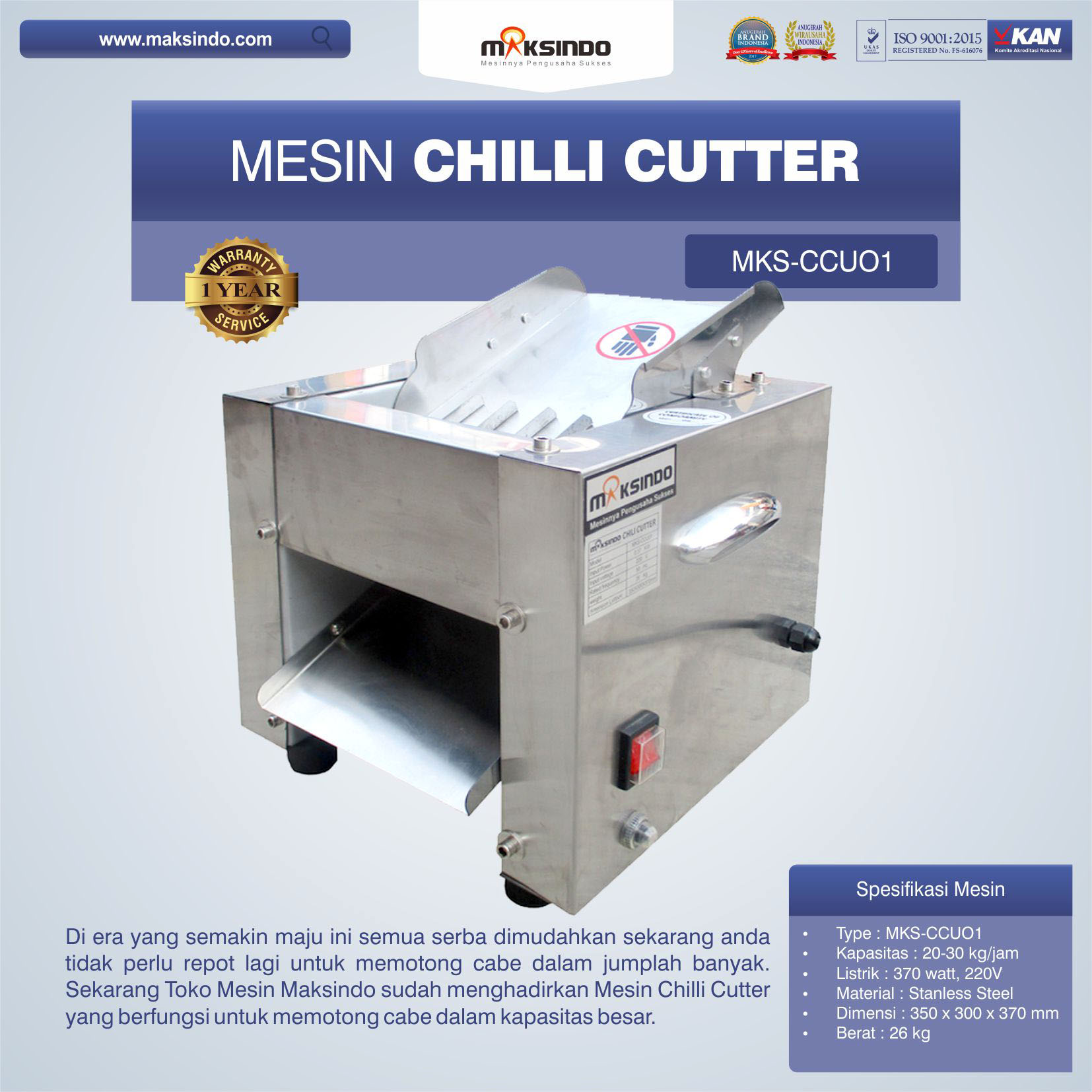 Jual Mesin Chilli Cutter MKS-CCU01 di Blitar