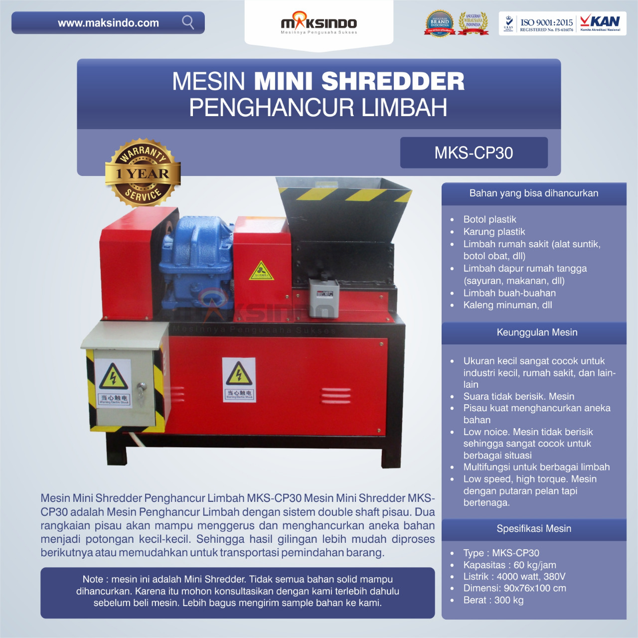 Jual Mesin Penghancur Plastik MKS-CP30 di Blitar