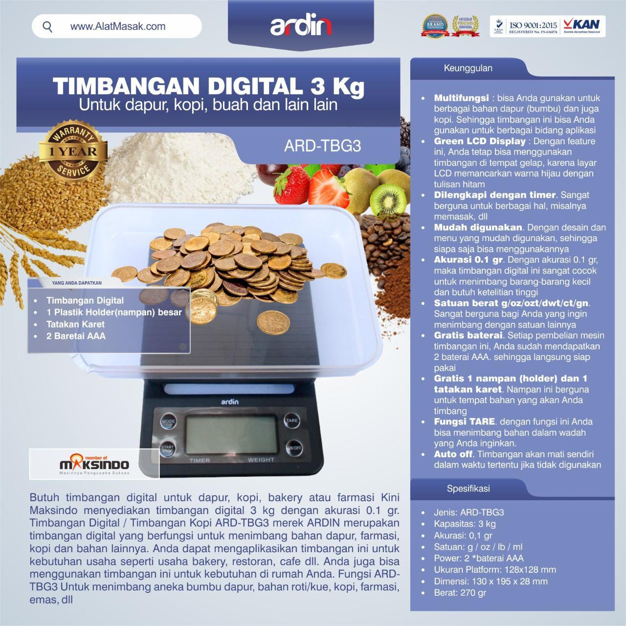 Jual Timbangan Digital 3 kg / Timbangan Kopi ARD-TBG3 di Blitar