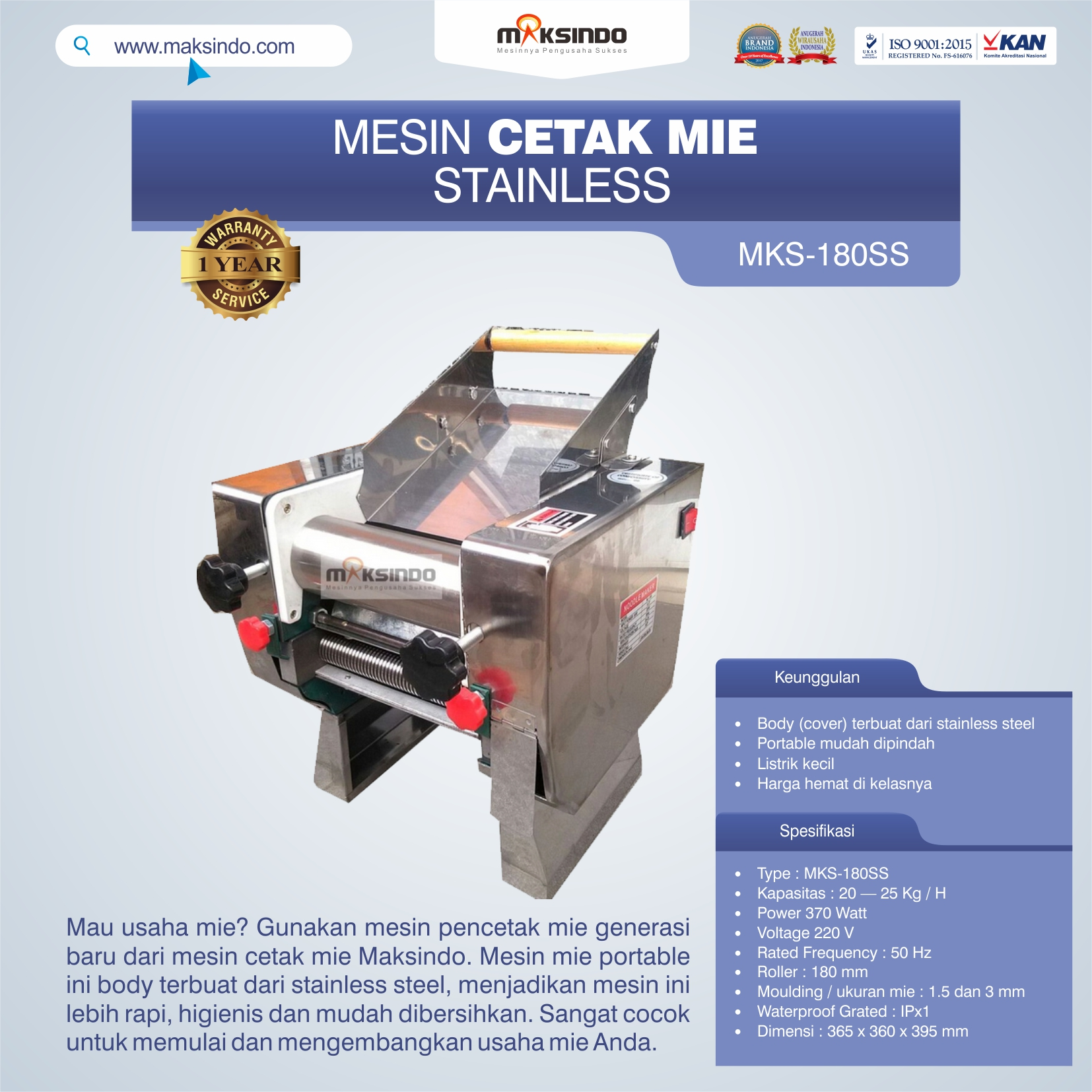 Jual Mesin Cetak Mie Stainless (MKS-180SS) di Blitar
