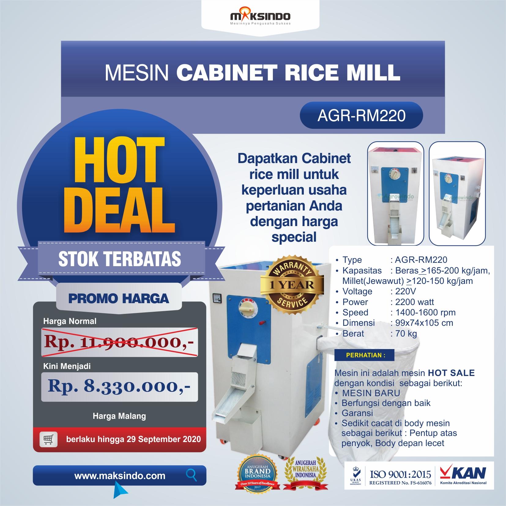 Jual Mesin Cabinet Rice Mill AGR-RM220 di Mataram