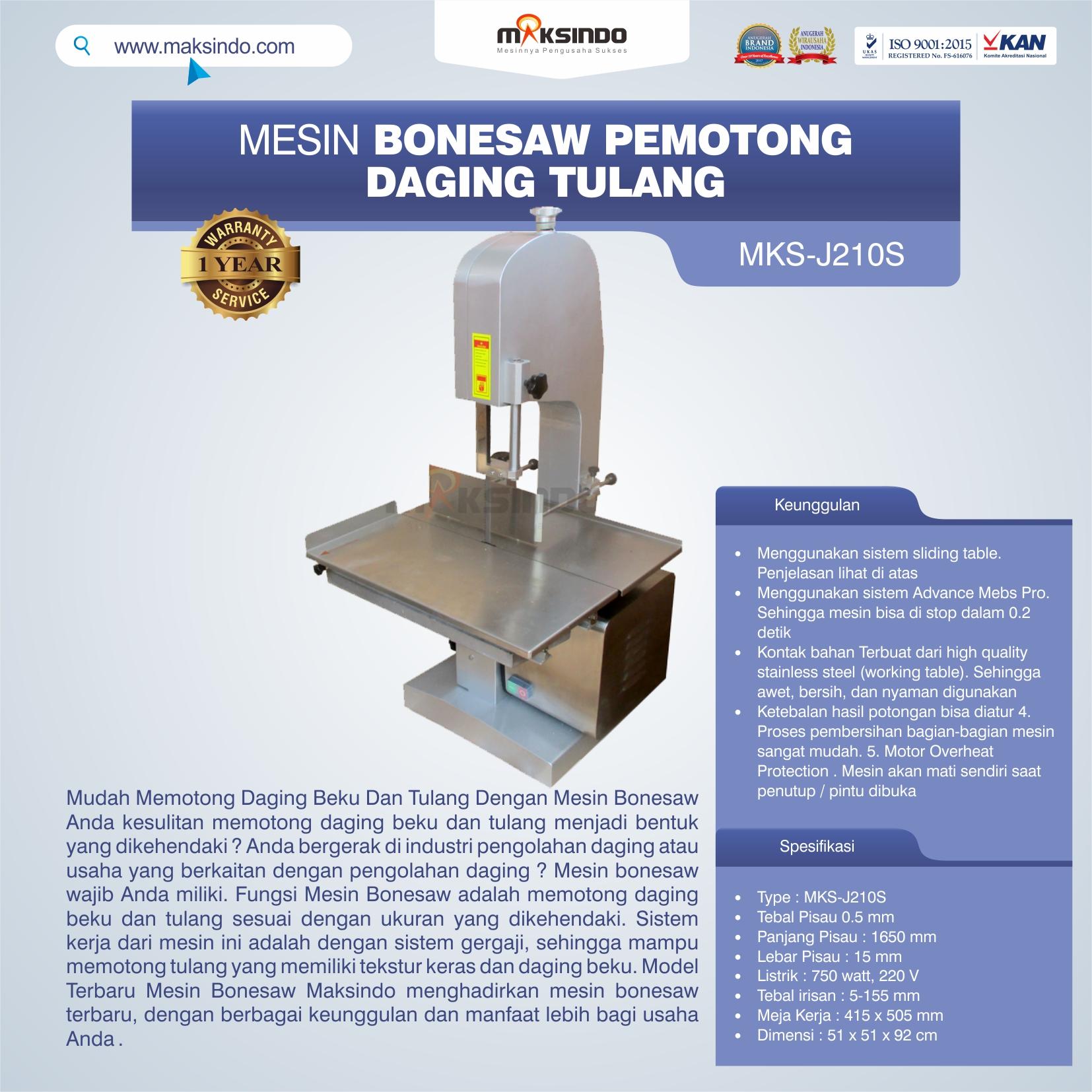 Jual Mesin Bonesaw Pemotong Daging Tulang (MKS-J210S) di Blitar