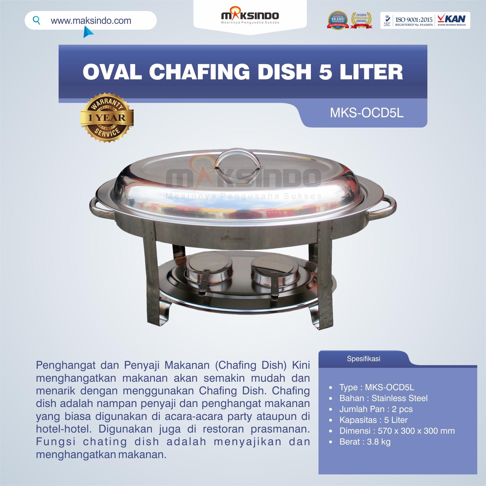 Jual Oval Chafing Dish 5 Liter di Blitar