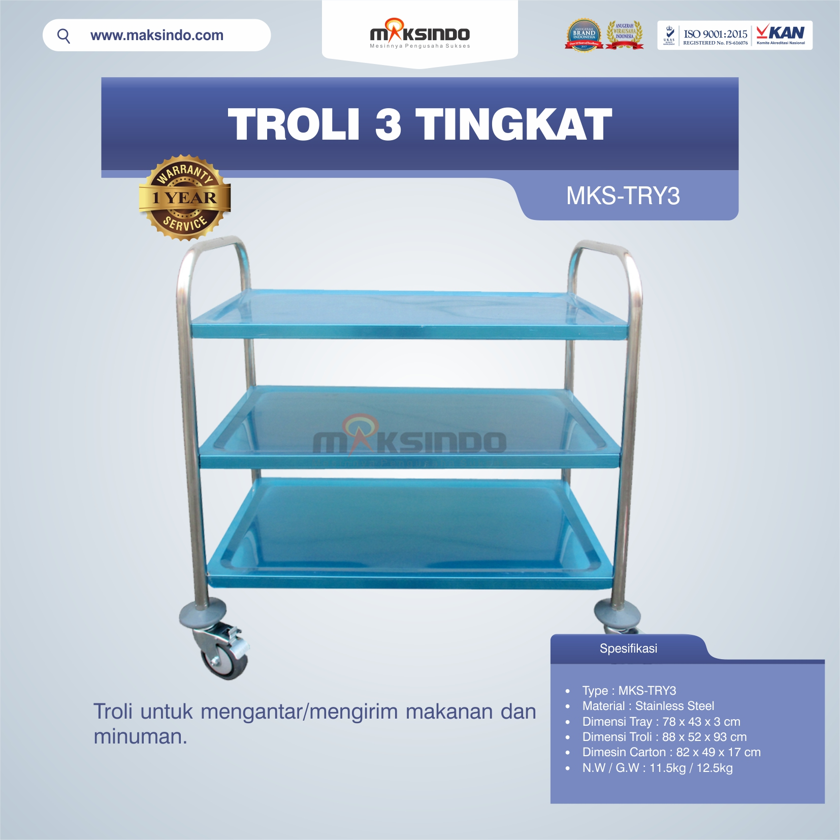 Jual Troli 3 Tingkat MKS-TRY3 di Blitar