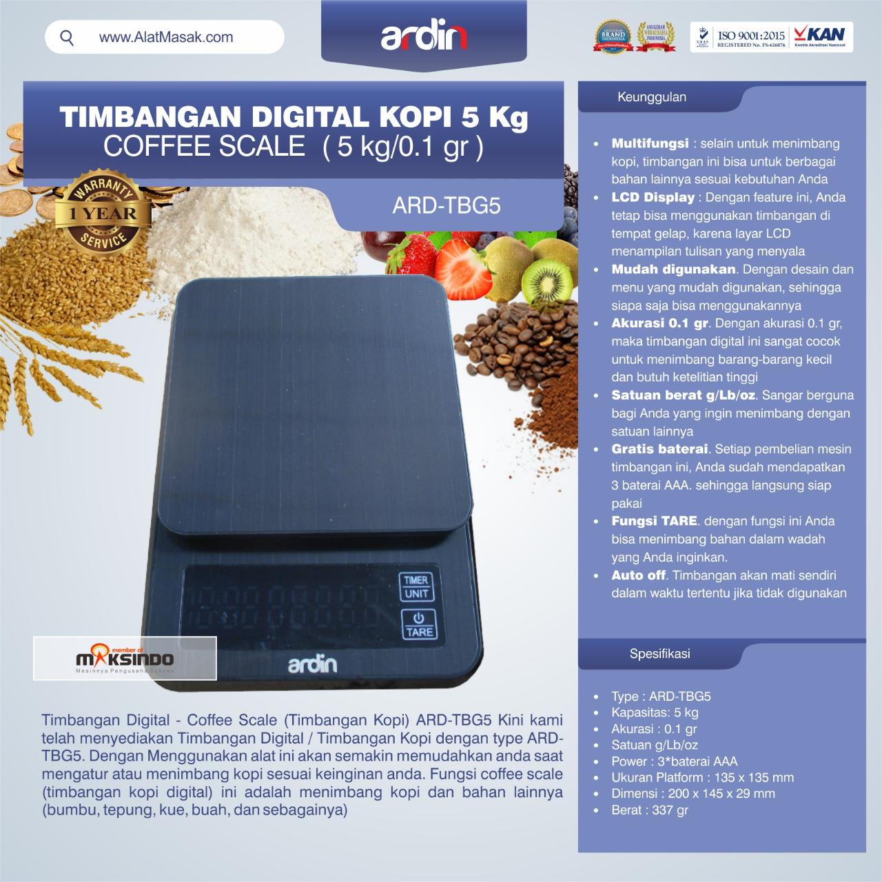 Jual Timbangan Digital Kopi 5 kg ARD-TBG5 (coffee scale) di Blitar