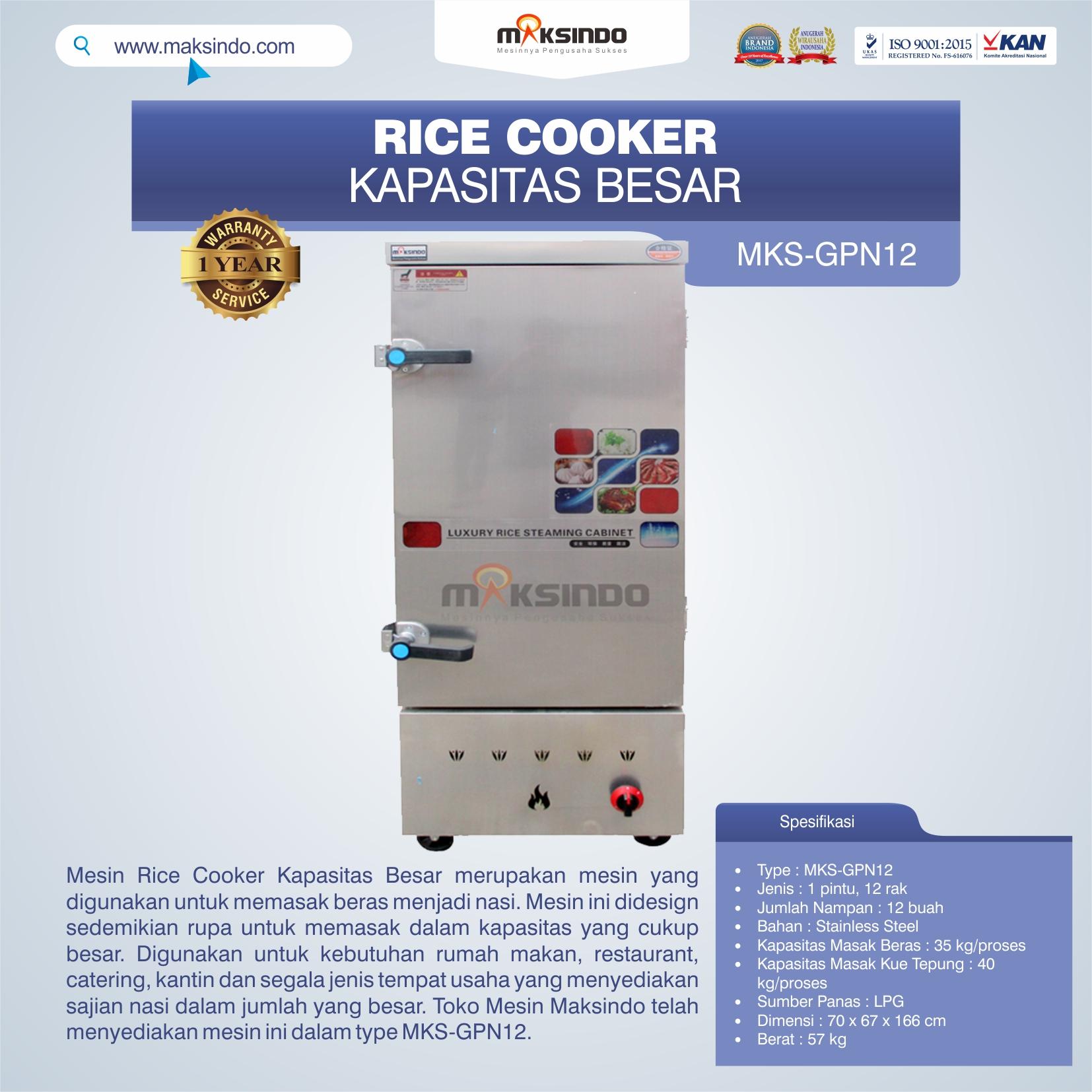 Jual Mesin Rice Cooker Kapasitas Besar MKS-GPN12 di Blitar
