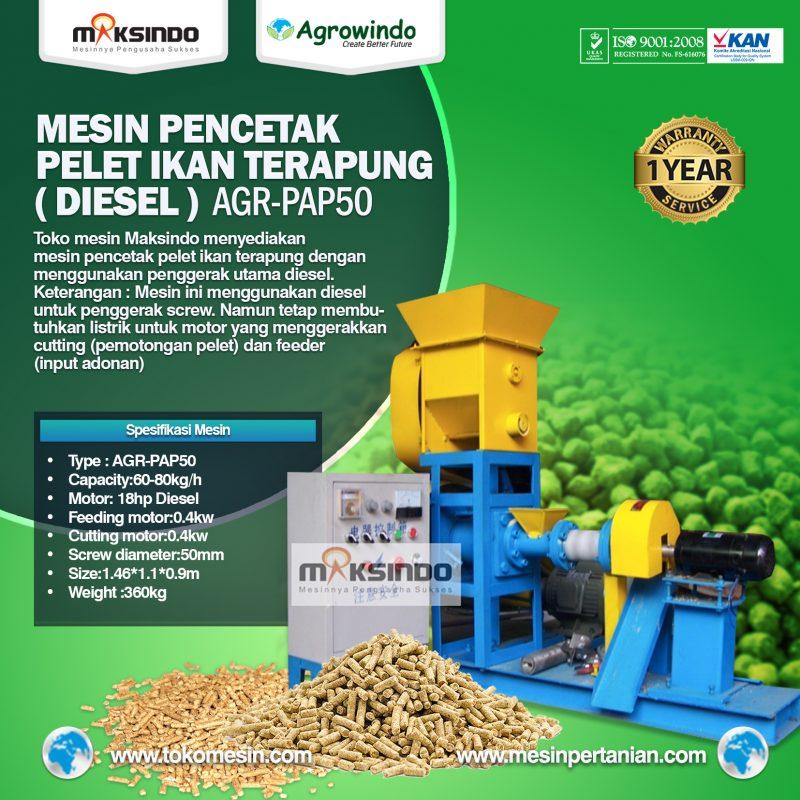 Jual Mesin Pelet Ikan Terapung (diesel) AGR-PAP50 di Blitar